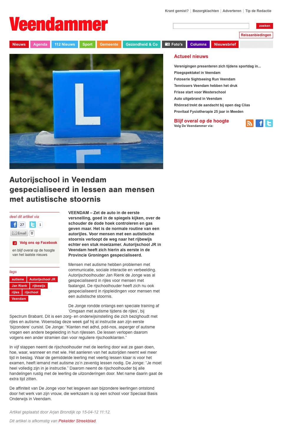 Autorijschool JR op www.veendammer.nl